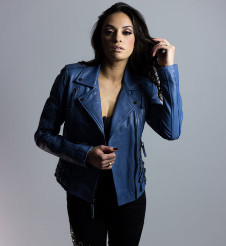 Sweet Madame Blue Multi Buckle Leather Jacket