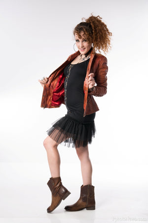 Decadent Cognac Corset Distressed Leather Jacket