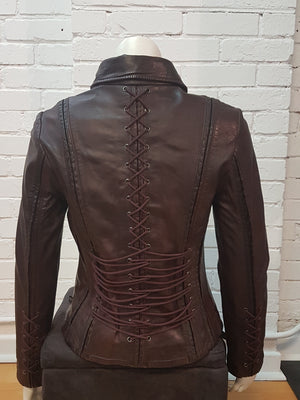 Distressed Chocolate Corset Ties Leather Jacket