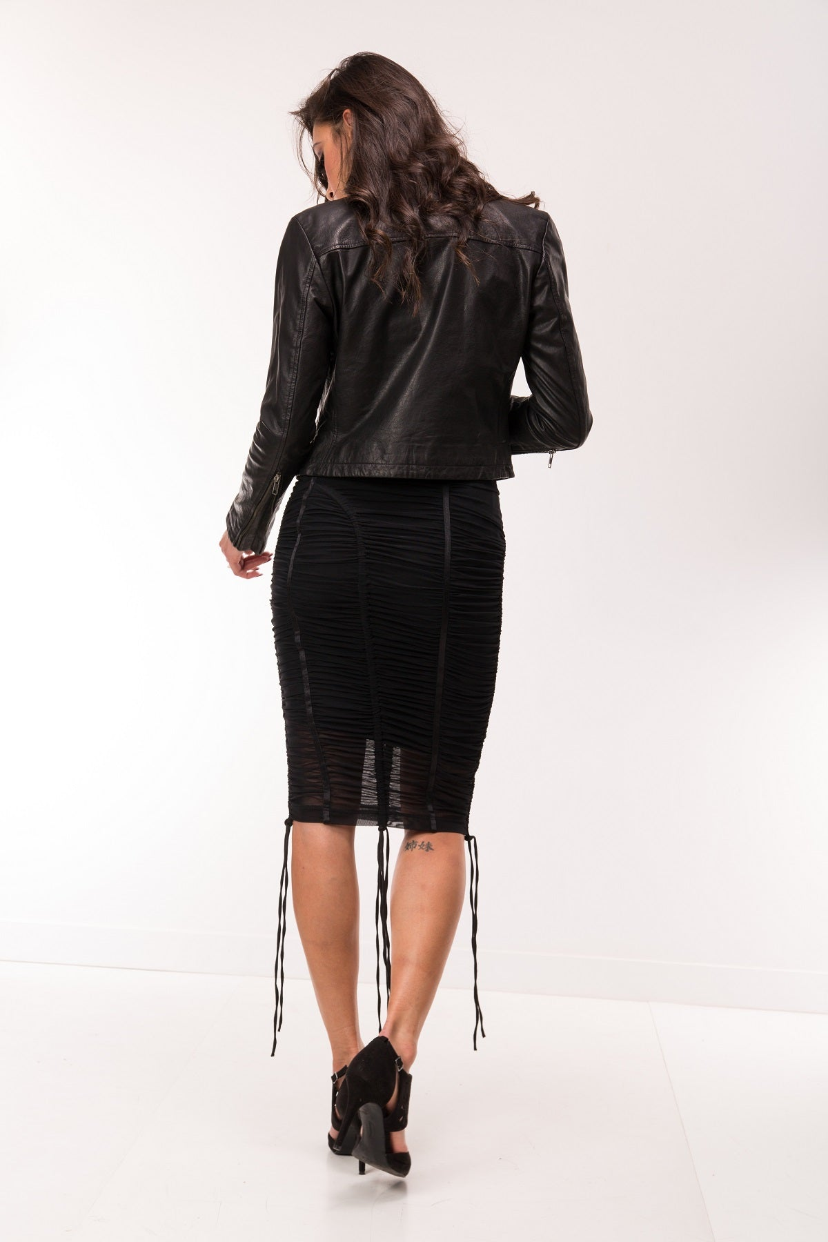 Crop Up Stud Out Black Leather Jacket