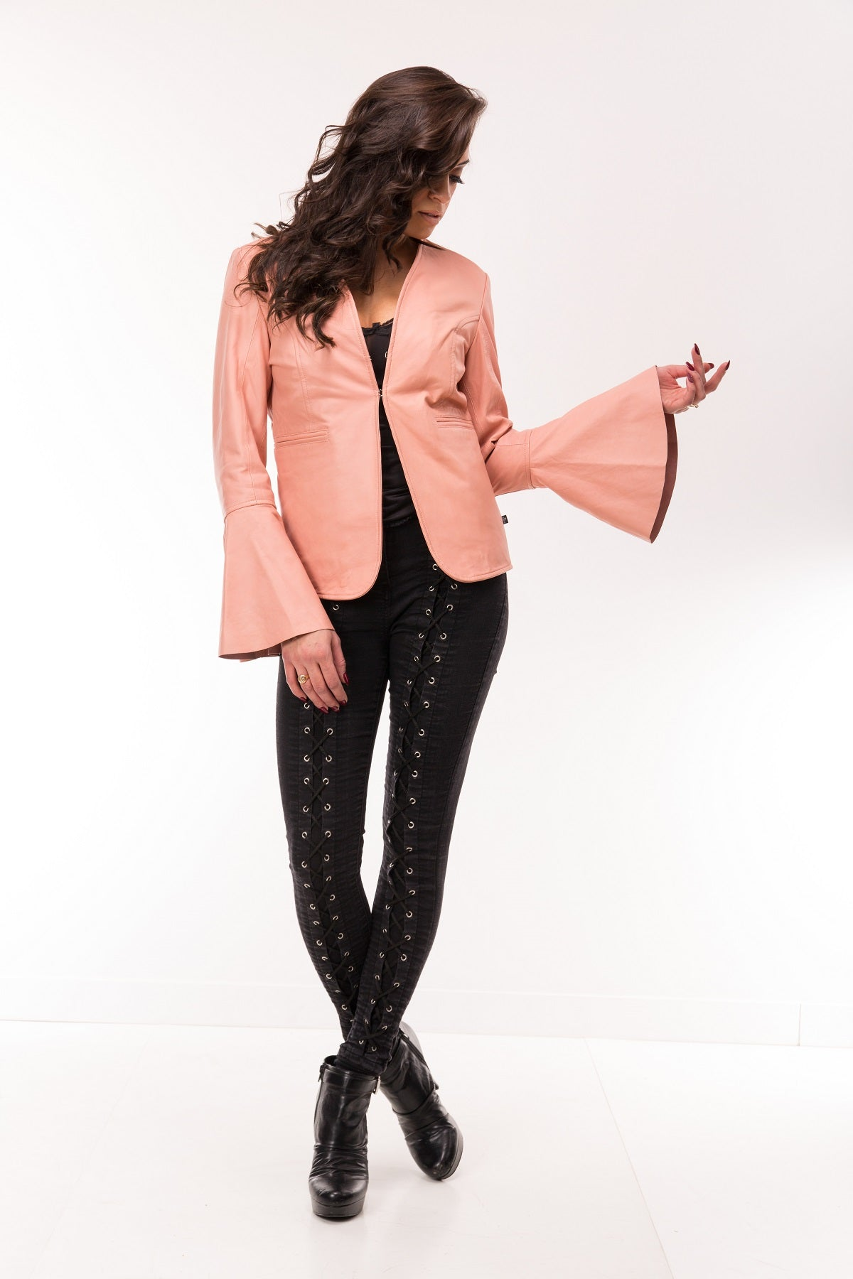 Foxy Lady Bell Sleeve Back Stud Leather Bolero Jacket