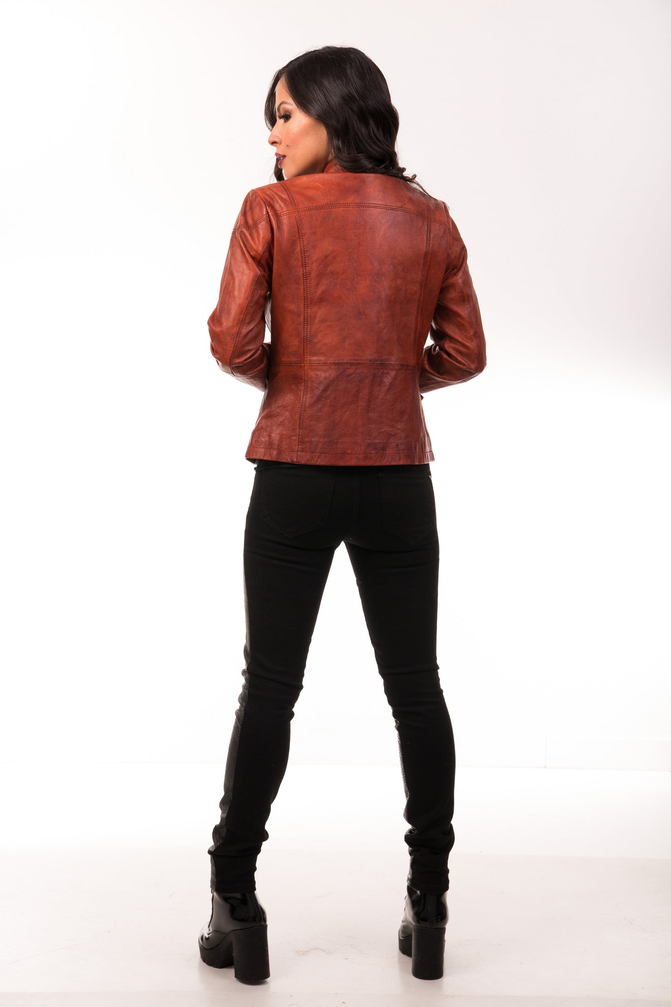 Meghan Biodegradable & Vegetable Dyed Leather Jacket in Deep Cognac