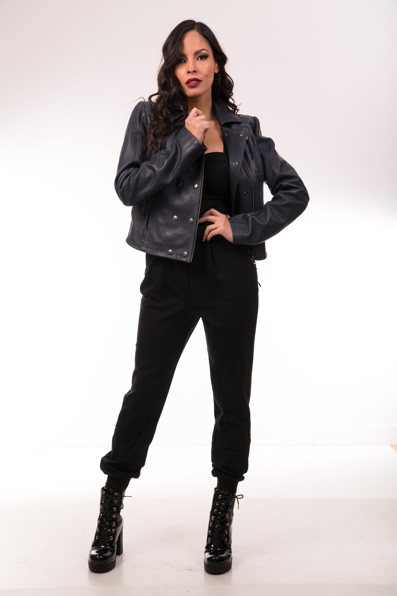 Guinevere Biodegradable & Vegetable Dyed Leather Jacket in Indigo Grey