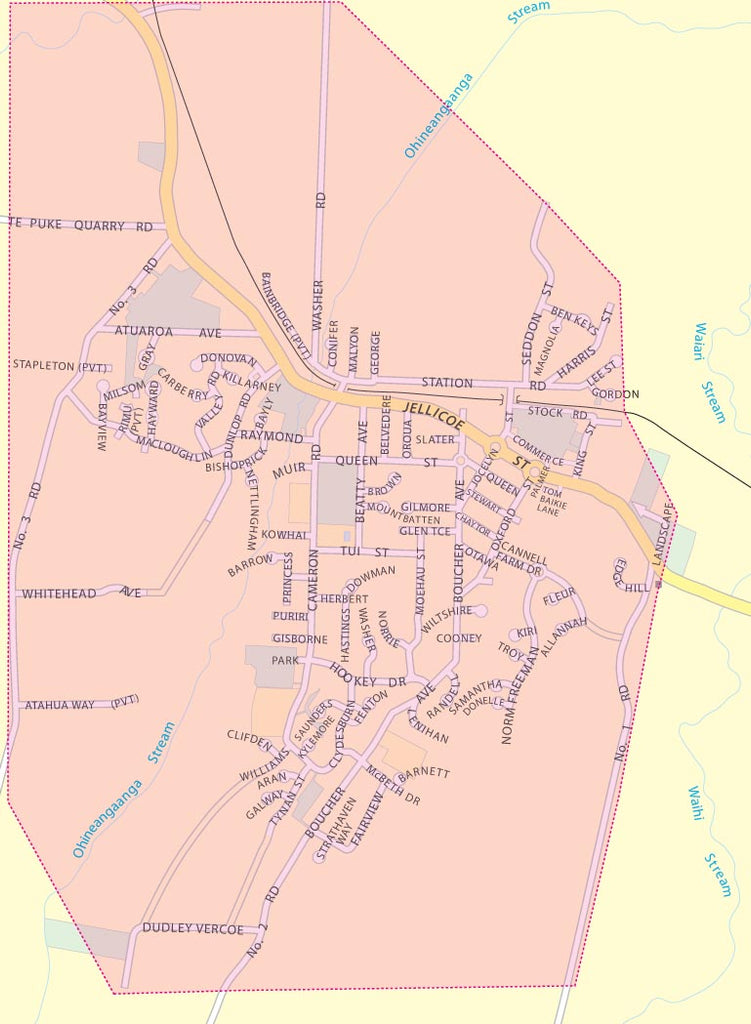 Map of Te Puke showing Free Delivery Zones