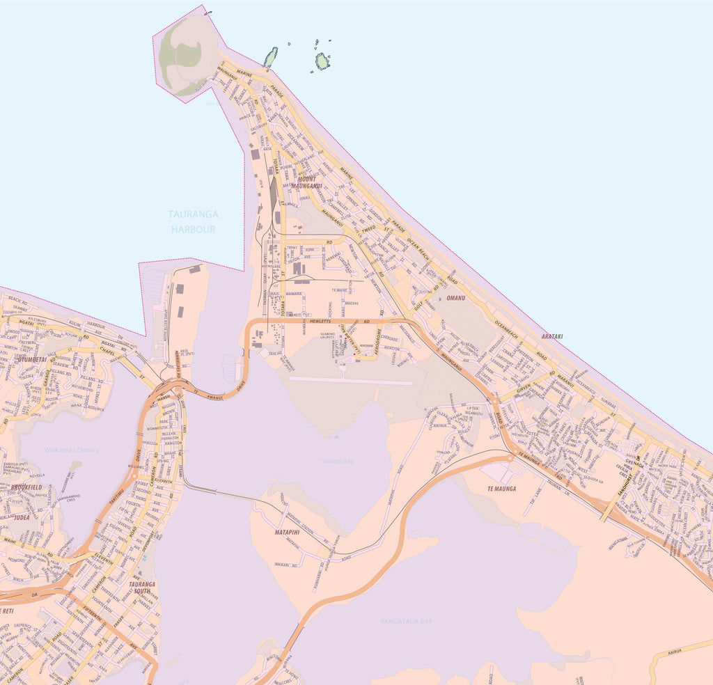 Map of Mount Maunganui showing Free Delivery Zones