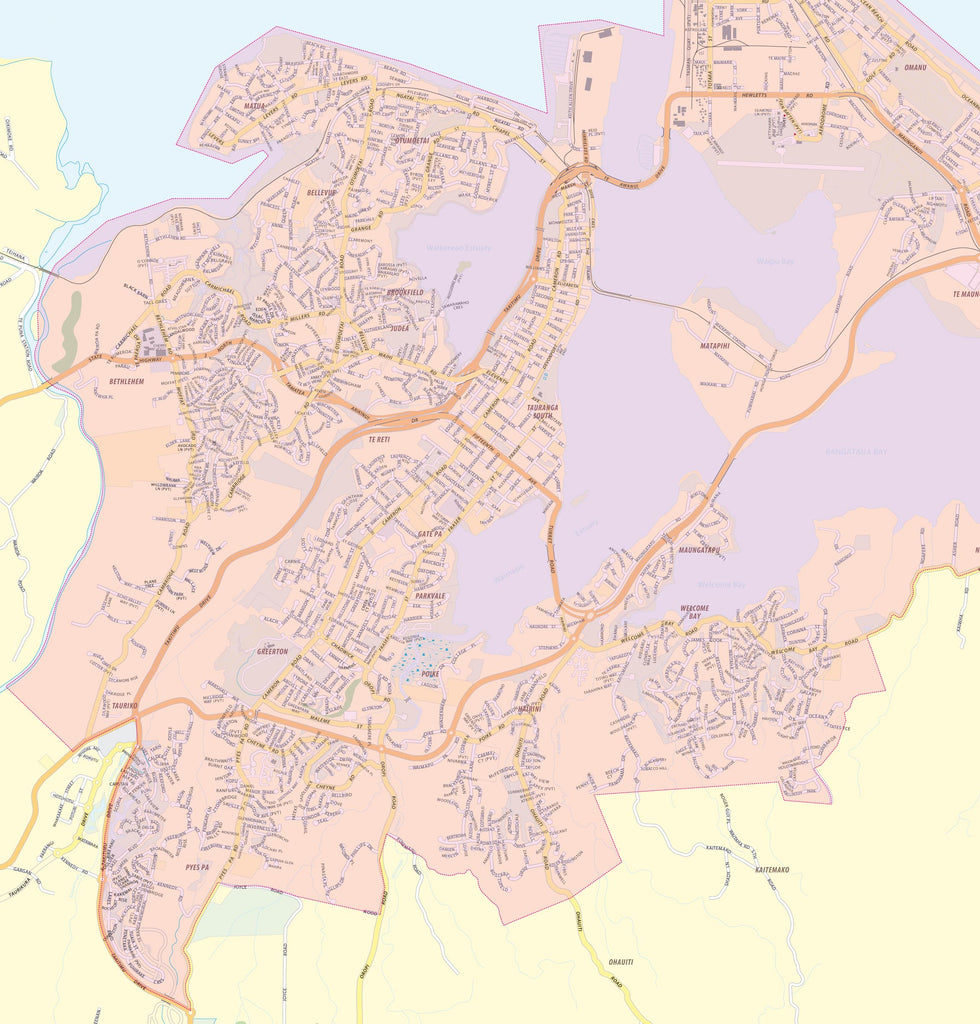 Map of Tauranga showing Free Delivery Zones