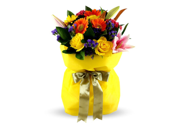 Vibrant yellow flowers and other seasonal blooms