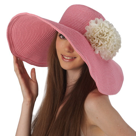Luxury Lane Women's Pink Floppy Sun Hat with White Flower Appliques