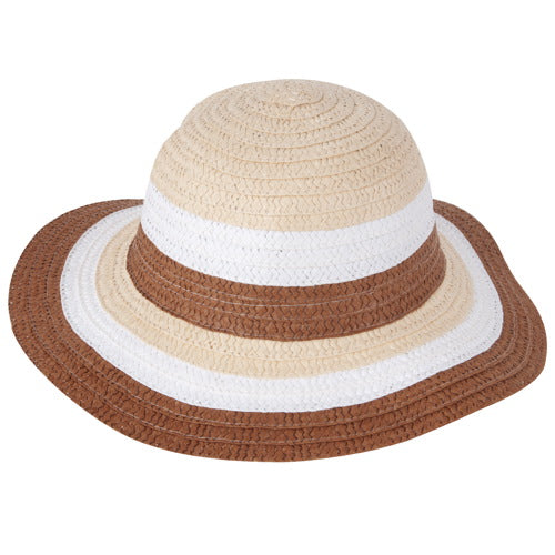 "Momo Grow Girls ""Cara"" Striped Floppy Sun Hat"