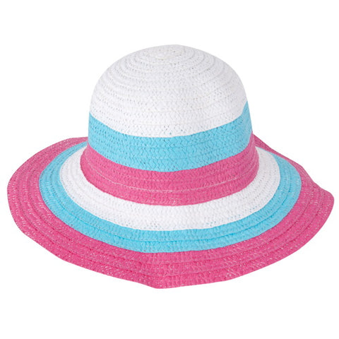 Momo Grow Girls Molly Red Trimmed Floppy Sun Hat with Polka Dot Ribbon