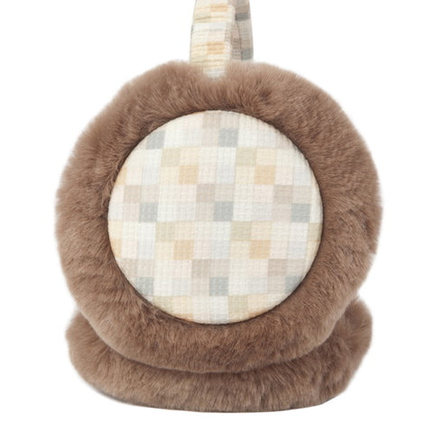 "Momo Grow ""Elsie"" Faux Fur Trimmed Checkered Pattern Earmuffs (Fits Toddler to Adult)"