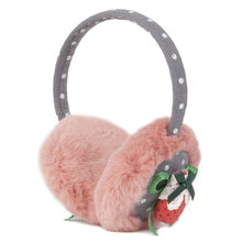 "Load image into Gallery viewer, Momo Grow ""Allee"" Faux Fur Trimmed Strawberry Bow Dotted Earmuffs (Fits Toddler to Adult)"