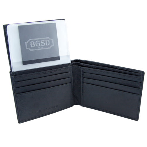 BGSD Men's Black Classic Leather Passcase Bifold Wallet