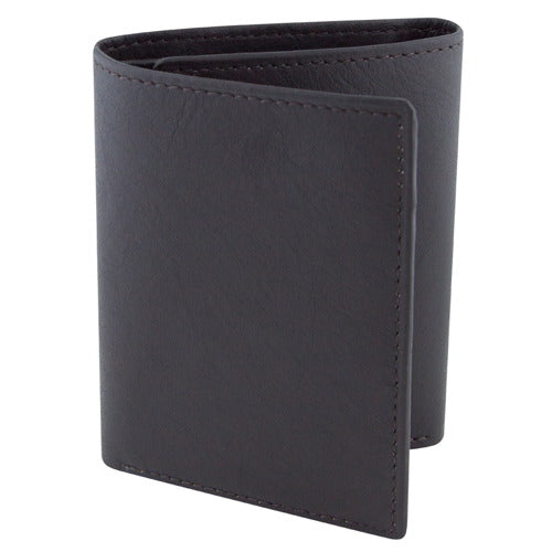 BGSD Men's Dark Brown Classic Leather Trifold Wallet