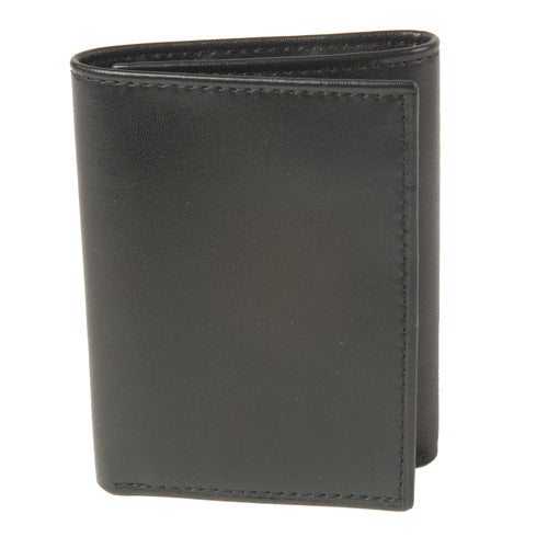 BGSD Men's Black Smooth Classic Leather Trifold Wallet