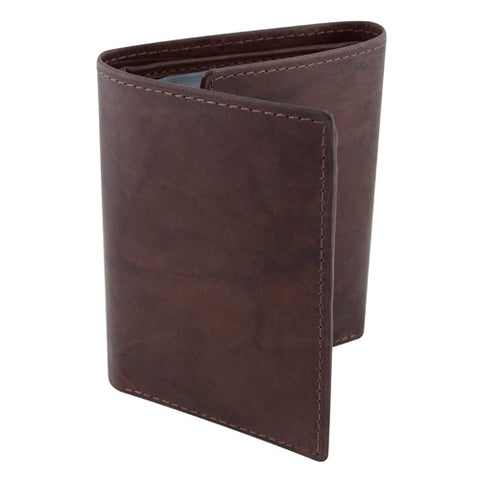 BGSD Men's Distressed Brown Classic Leather Trifold Wallet