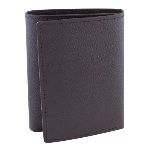 BGSD Men's Dark Brown Pebble Grain Classic Leather Trifold Wallet