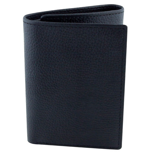 BGSD Men's Black Pebble Grain Classic Leather Trifold Wallet