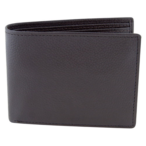 BGSD Men's Dark Brown Pebble Grain Classic Leather Passcase Bifold Wallet