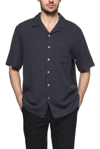 Sandals Cay Men's Herringbone Silk Camp Shirt - Navy