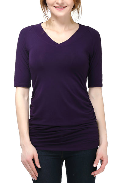 "PHISTIC Women's ""June"" V-Neck Ruched Top"