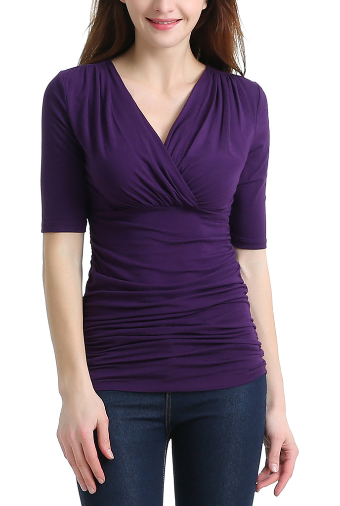 "PHISTIC Women's ""Carrie"" Ruched V-Neck Top"
