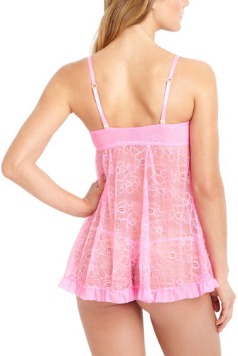 phistic Women's Lace Babydoll Chemise & G-String 2-Piece Set