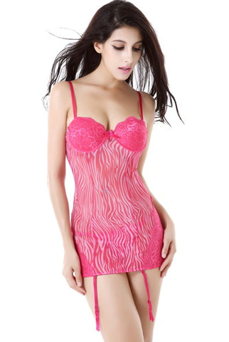 Phistic Women's Sheer Printed Mesh Chemise Garter & G-String 2-Piece Set