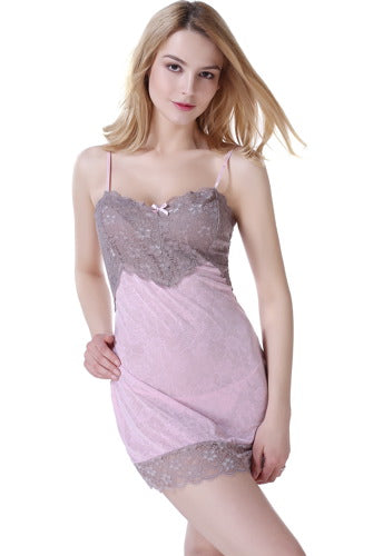 phistic Women's Lace Chemise and G-String 2-Piece Set