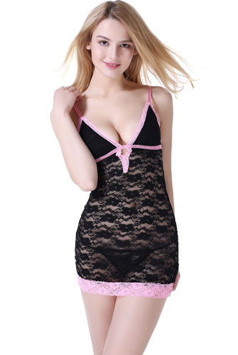 phistic Women's Lace Chemise & G-String 2-Piece Set - Plus