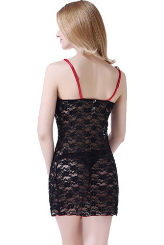 phistic Women's Lace Babydoll Chemise & G-String 2-Piece Set - Plus