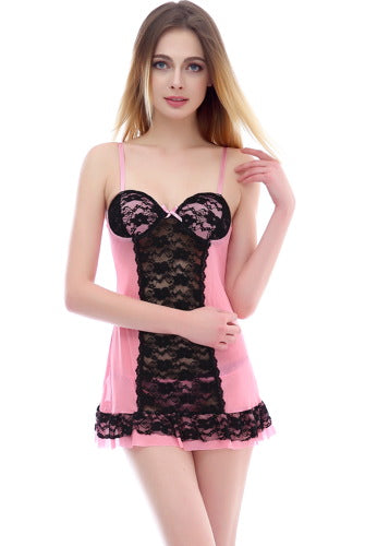 phistic Women's Lace Panel Chemise & Thong 2-Piece Set