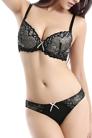 phistic Women's Convertible Push-Up Pad Bra & Thong 2-Piece Set