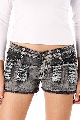 Jessie G. Low Rise Frayed Raw Hem Ripped Denim Jean Shorts