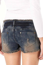 Load image into Gallery viewer, Jessie G. Women's Low Rise Destructed Denim Short Shorts