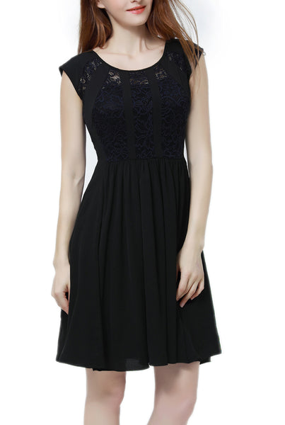 PHISTIC Women's Lace Accent Skater Dress