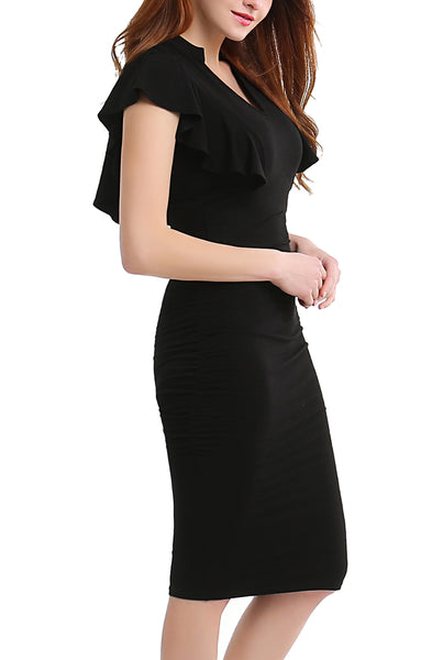 PHISTIC Women's Flutter Sleeve Fitted Midi Dress (Regular & Plus)