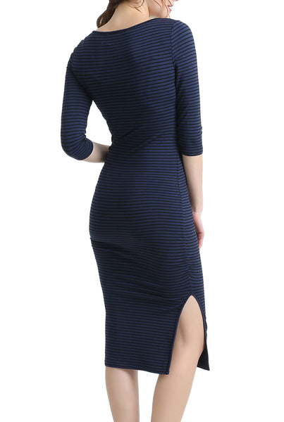 PHISTIC Women's Striped Fitted Midi Dress
