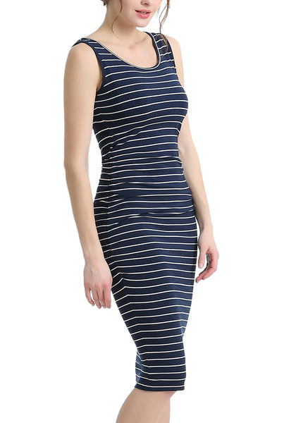 PHISTIC Women's Striped Ruched Midi Dress