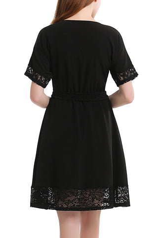 PHISTIC Women's Lace Trim Fit and Flare Dress