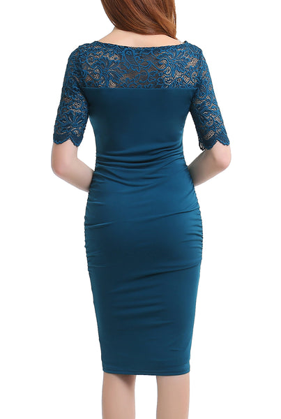 PHISTIC Women's Lace Accent Fitted Bodycon Dress