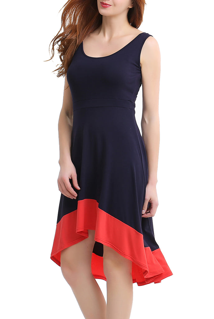 PHISTIC Women's Colorblock High Low Dress