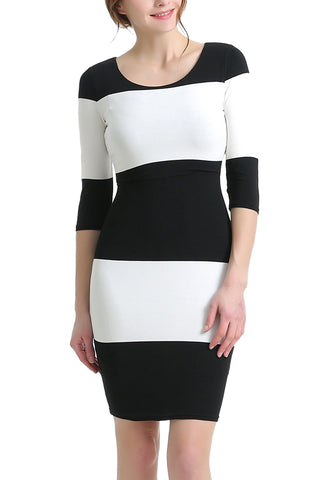 PHISTIC Women's Striped Bodycon Dress