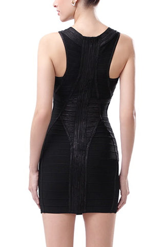 PHISTIC Women's Deep V-Neck Shimmer Bandage Dress