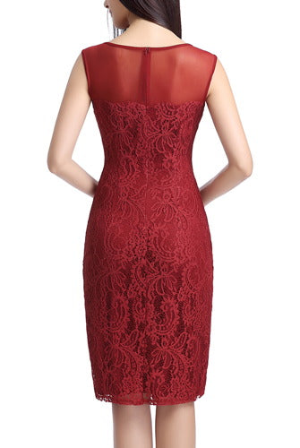 PHISTIC Women's Illusion Yoke Lace Sheath Dress
