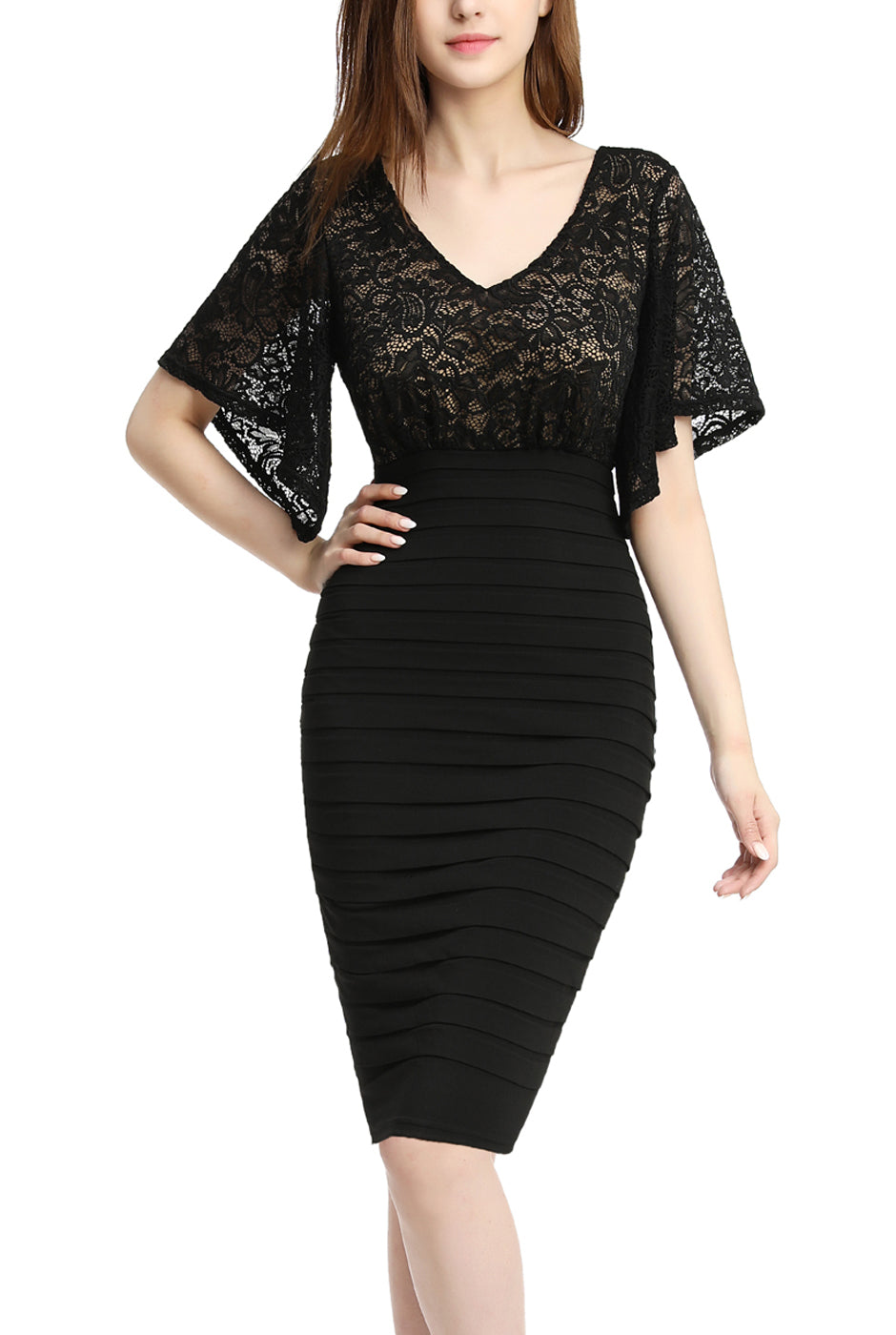 PHISTIC Women's Flutter Sleeve Lace Sheath Dress (Regular & Plus Size)