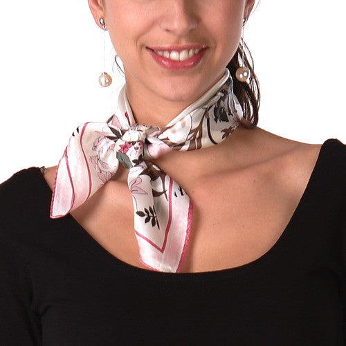 "Luxury Lane Women's 'Floral' Pure Silk Square Scarf - 21""x21"""