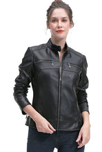 Load image into Gallery viewer, BGSD Women's Zip Front New Zealand Lambskin Leather Jacket - Short