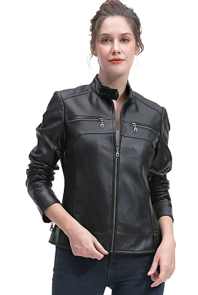 BGSD Women's Zip Front New Zealand Lambskin Leather Jacket - Plus Short