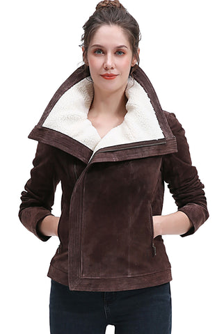 BGSD Women's Suede Leather Jacket - Plus Short